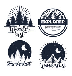 Set labels with pines trees and snowy mountains vector