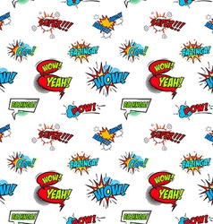 Set of comic text Pop art style phrases Seamless vector image