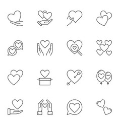 set of heart and love concept outline icons vector image