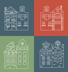 Set of linear icons houses Christmas vector image