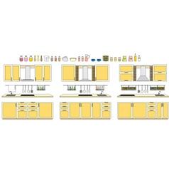 Sets of kitchen furniture vector