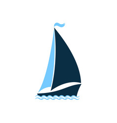 ship at sea sailboat on the waves logo for yacht vector image