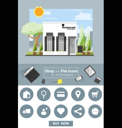 shop and flat icons for e commerce restaurant vector image