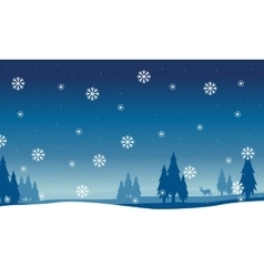 Silhouette of spruce landscape with snowflakes vector