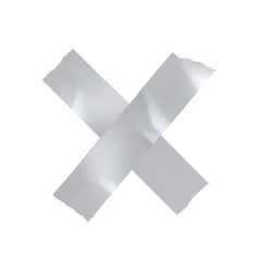 silver sticky tape cross vector image