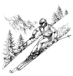 Skier in mountains landscape vector