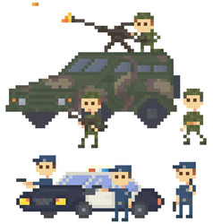 soldiers and police in uniform near pixelated vector image