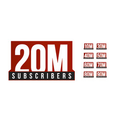 subscribers number icon set anniversary vector image
