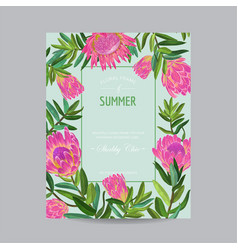 Summer floral card with pink protea flowers vector