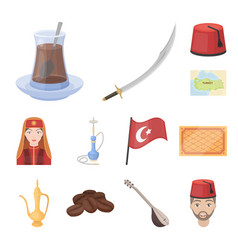 Turkey country cartoon icons in set collection for vector
