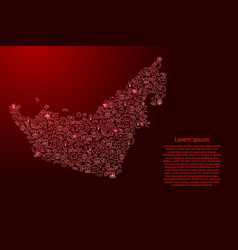 United arab emirates uae map from red and glowing vector