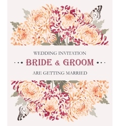 Wedding invitation with chrysanthemums vector image