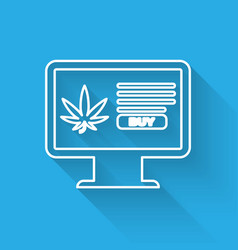 white line computer monitor and medical marijuana vector image