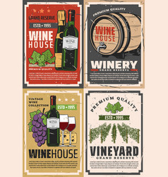 wine house shop winery grand reserve bottle vector image