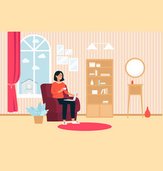 woman with laptop and cup sitting in chair at home vector image