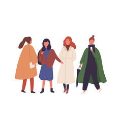 women in fall season outfits flat vector image