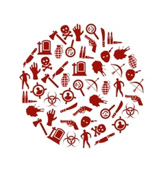 zombie icons in circle vector image