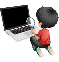 A boy in front of a laptop holding a magnifying vector image
