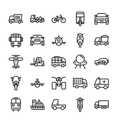 automobile line icons 6 vector image