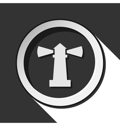 Black and white round with lighthouse icon vector