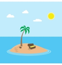 cartoon scene of tropic island with palm vector image