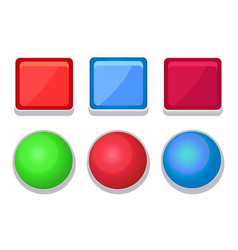 empty glossy web buttons square and round shape vector image