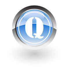 glossy icon letter q vector image