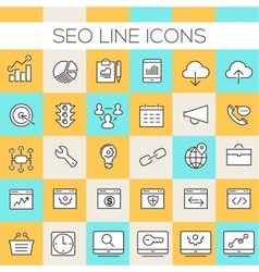 Inline SEO Icons Collection vector image vector image