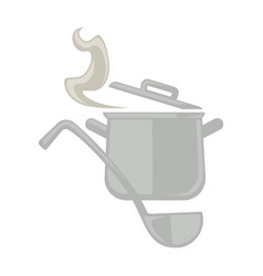 metal pot and serving spoon vector image vector image