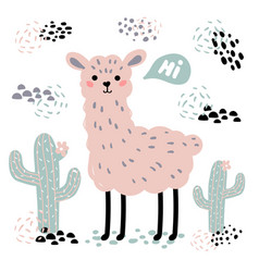 pink cartoon lama alpaca cactuses and hi text vector image