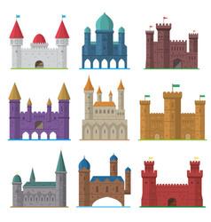 set of old flat medieval castles vector image