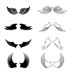 Set of wings - silhouette design elements vector image vector image
