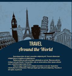 travel around the world retro poster vector image