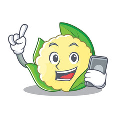 with phone cauliflower character cartoon style vector image vector image