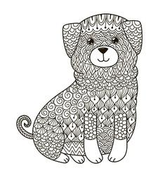 Zentangle dog for coloring page shirt design log vector image