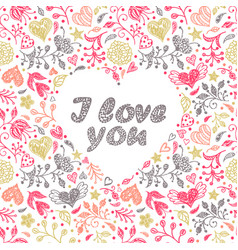 card with hand drawn flowers and hearts vector image vector image