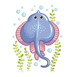 Cartoon Stingray fish in vector image vector image