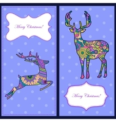 Christmas cards with deers vector image vector image