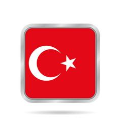 Flag of turkey shiny metallic gray square button vector