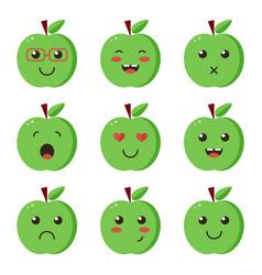 set collection of flat design emoji green apples vector image