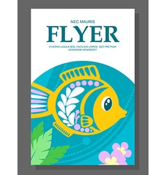 Summer flyer with a decorative fish on the ocean vector image vector image