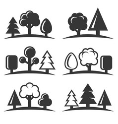 tree icons set on white background vector image vector image