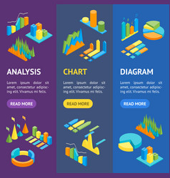 charts and graphs banner vecrtical set 3d vector image
