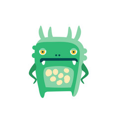 funny green cartoon monster fabulous incredible vector image