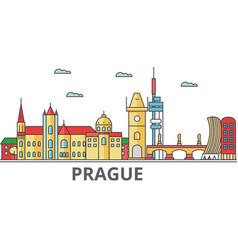 prague city skyline buildings streets vector image