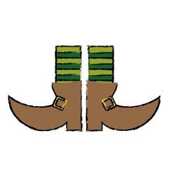 cartoon boot leprachaun stripes socks st patrick vector image