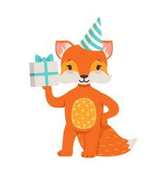 cute orange fox character wearing in a party hat vector image vector image