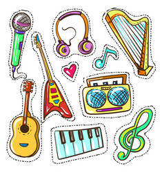 Hand drawn color musical instruments set vector