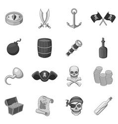 pirate culture symbols icons set monochrome vector image