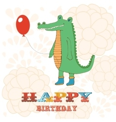 Stylish Happy birthday card with cute crocodile vector image vector image